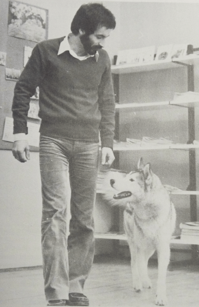 Roger Abrantes in 1984 with a Siberian Husky.