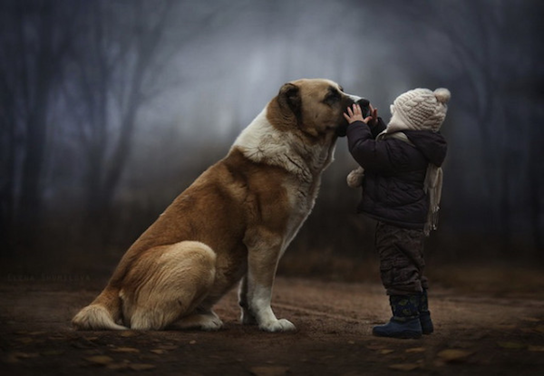 Dog and Child by Elena Shumilova